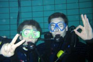 Unterwasser, Hallenbad, Zwei taucher, OK-Zeichen, Ausbildung